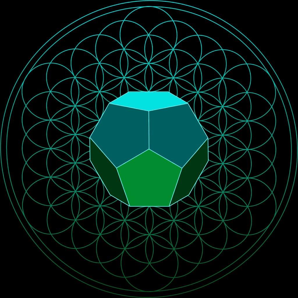 die platonische Körper in der Blume des Lebens der Dodekaeder in 3D