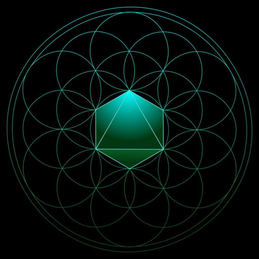 die platonische Körper in der Blume des Lebens der Oktaeder in 3D