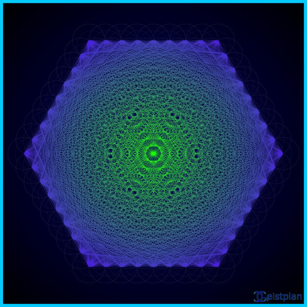 Stark vernetztes komplexes psychdelisches Mandal mit dunklem Hintergrund (psychodelic mandala). Blume des Lebens als Energiebild, zur Mitte heller außen dunkel
