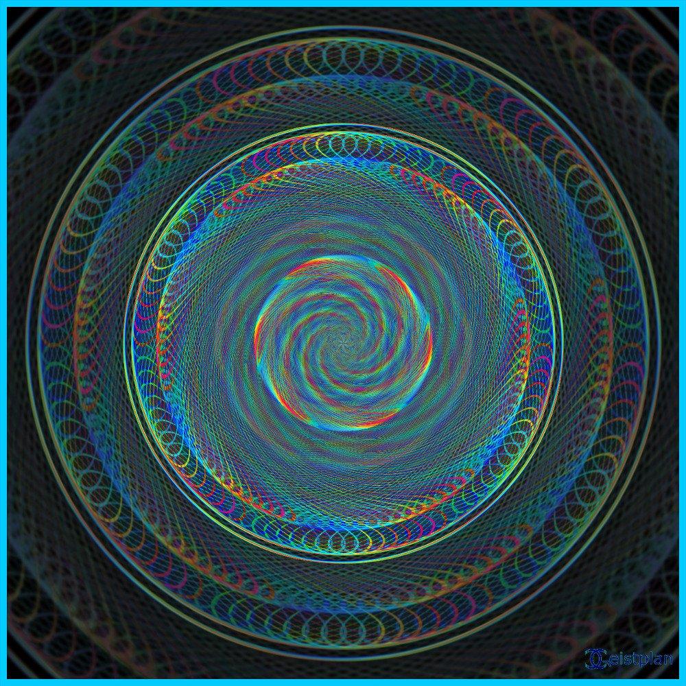 Komplexes psychodelisches Mandala, dreidimensional Wirkend, Schwarzer Hintergrund, geeignet für Goa, Desktophintergründe.