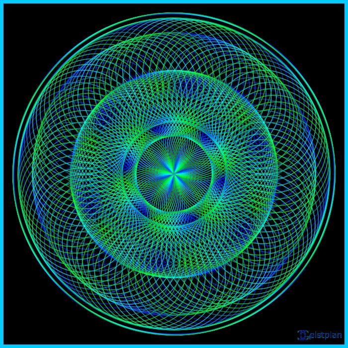 Blaugrüne inenderliegende heilige Geometrie Tori, recht komplexes dark background dunkler Hintergrund psychodelisches Mandala, für Goapartys geegnet.