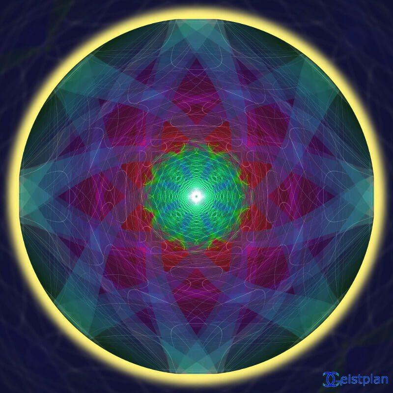 """Mandala von Geistplan (""""Mandala des Bewusstseins""""), warm leuchtend Lila bis Rotöne auf schwarzem Hintergrund, psychodelisches Mandal, Konzentration zur Mitte, rund verlaufende Konturen"""