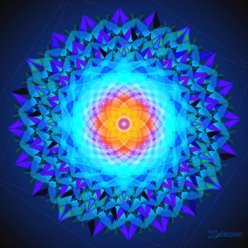 Gut strukturiertes Sternförmiges psychodelisches Mandala (psychodelic mandala) Hauptfarben Blau aber auch Rot, bis Gelb. Räumlich gezeichnet, sehr filigran und komplex. Dark Background, Wallpaper oder Hintergrundbild oder auch für Goatrance geeignet.