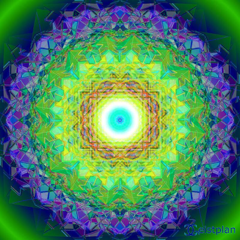 Mandala von Geistplan (Kristall der Tiefe). Komplexe Kristallstruktur als Mandala, welche eine räumliche Wirkung haben. In der Mitte leuchtend ausen dark background, Wallpaper, psychodelisches Mandala oder Enrgiebidl, Goa