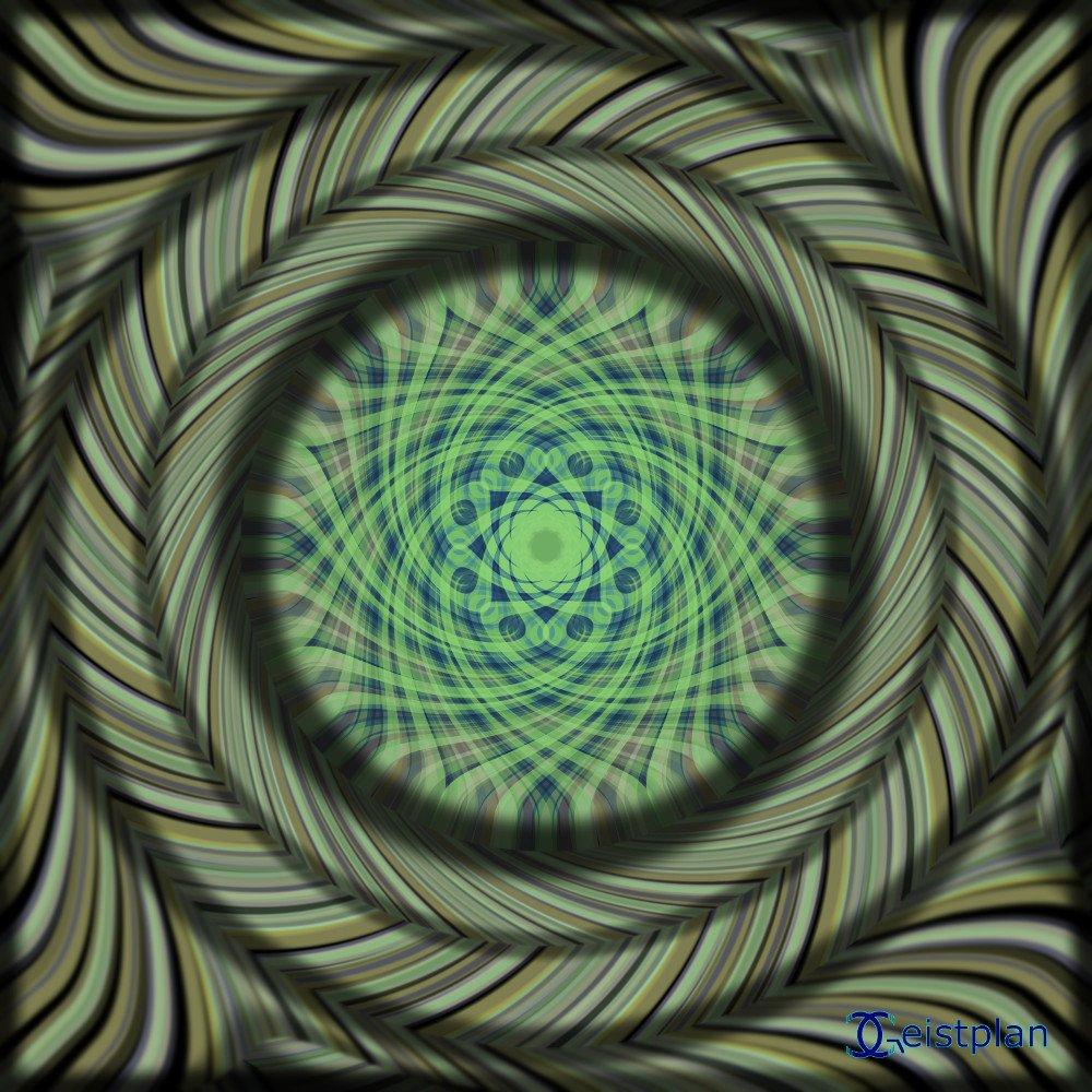 Mandala von Geistplan (Nostalgie). Grüne dreidimensional wirkende Scheiben aufeinander. Psychodelisches goabild