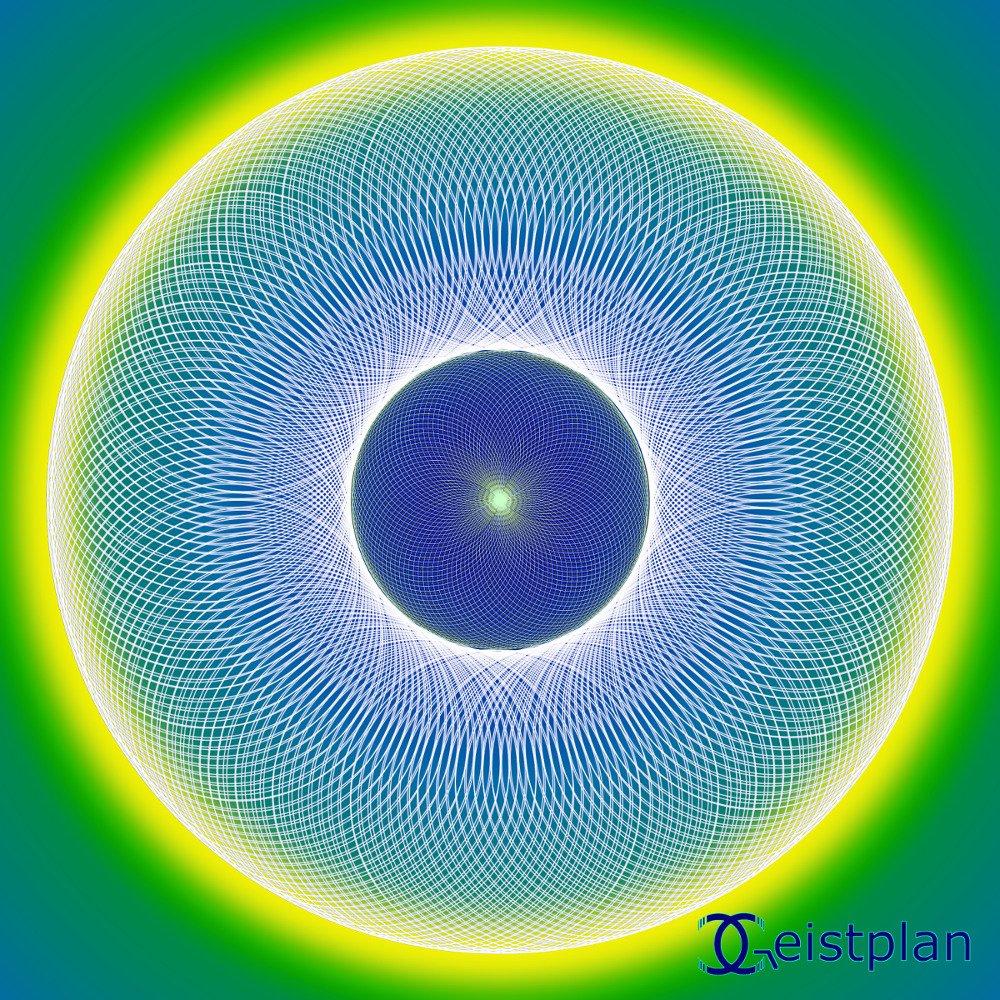 Mandala von Geistplan (Mandala der Intuition), psychodelisches Mandala, leuchtender Torus als Energibild. Farben von Hellgelb bis Hellblau und Grün. Gerade für Goas geeignet