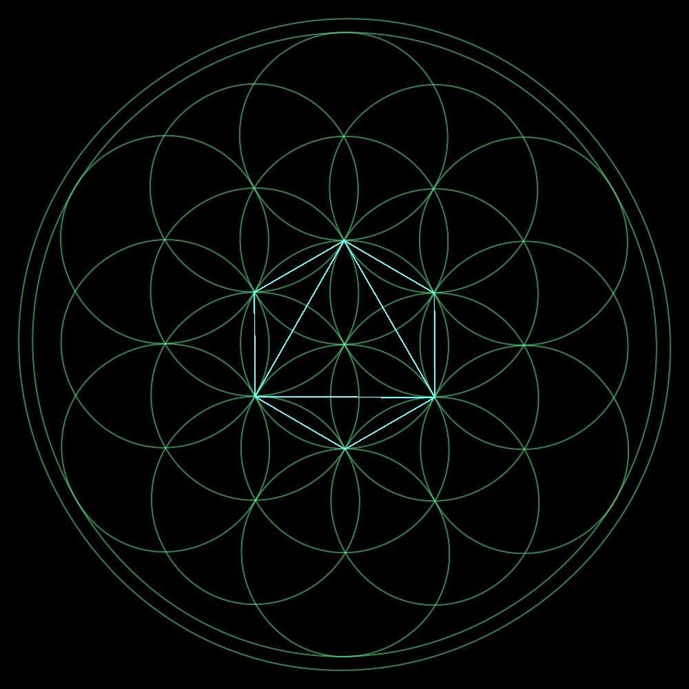 die platonische Körper in der Blume des Lebens der Oktaeder