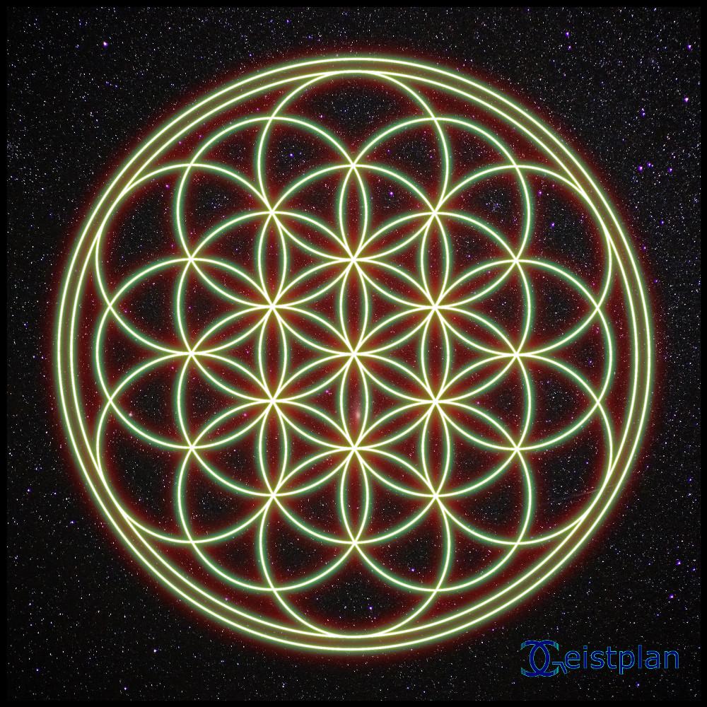 Bild mit Blume des Lebens als leuchtendes Mandala