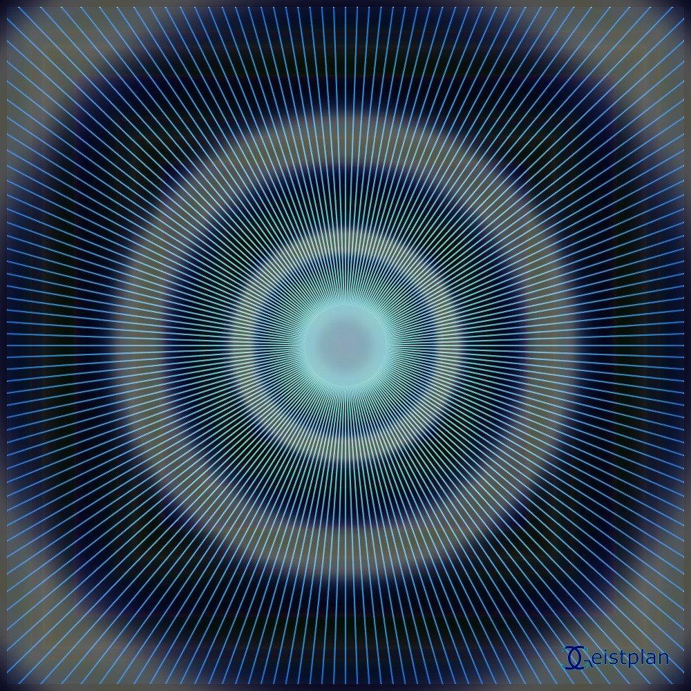 Bild von einem Bild mit Strichen zur Mitte, stark psychodelisches Mandala oder Energiebild. Beeinflussend auf die Konzentration zur Mitte, leuchtende Farbenkombinationen auf dunklem Hintergrund. Wallpaper, dark background, psychodelic mandala goa