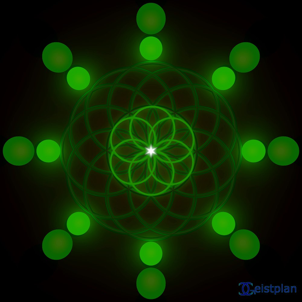 """Energiebild """"gruenes Wachstum"""", von sich aus gruen leuchtende Objekte. Zu dem Beitrag """"Details der Energiebilder"""""""