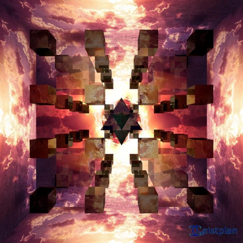 Bild von ein recht psychodelischen Mandala mit verspiegelten Würfeln