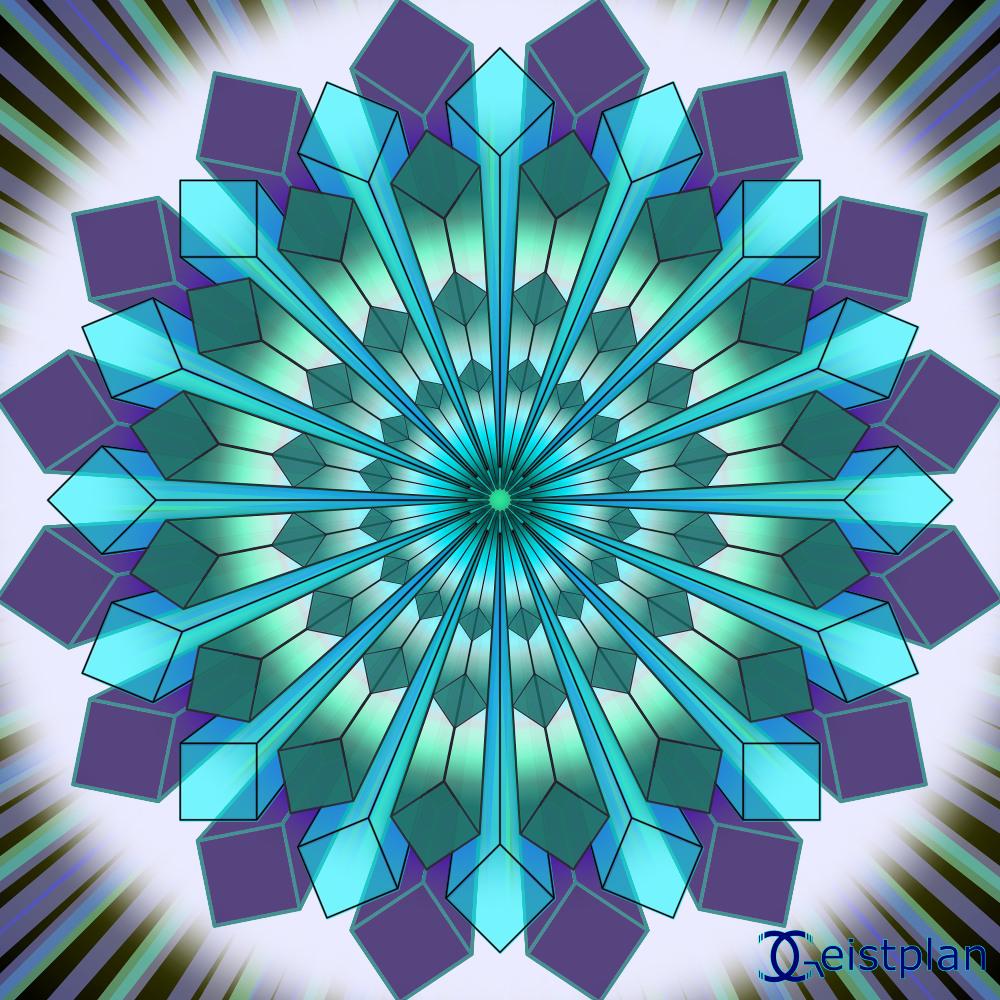 Energiebild von Geistplan. Mehrere geometrische Formen, die zum Inneren führen