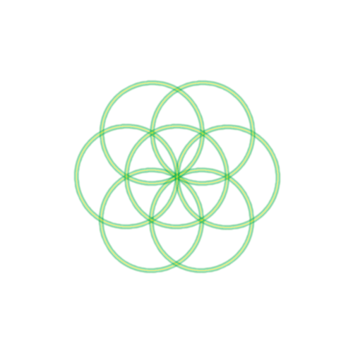 Bild 7. grüne Kreise bilden die Saat des Lebens ab