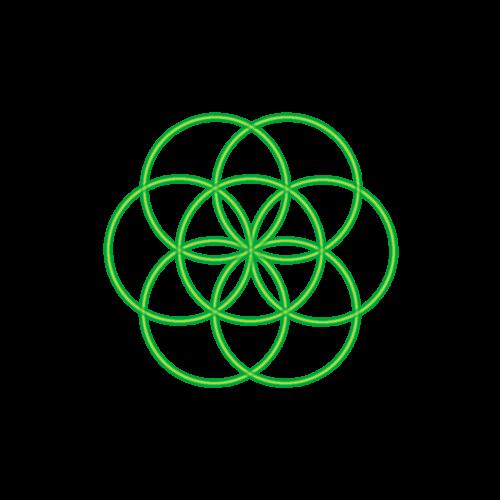 Bild 7. grüne Kreise bilden die Saat des Lebens ab Zirkelmuster Zirkelblume Kreismuster Lebensblume Ringmuster