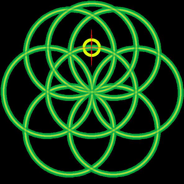 Bild von der Saat des Lebens mit einer Markierung und dem ersten neuen Kreis