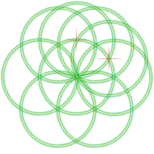 Bild von der Saat des Lebens mit einer Markierung und dem zweitem Kreis