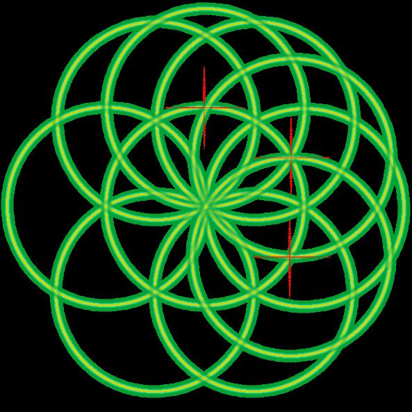 Bild von der Saat des Lebens mit einer Markierung und dem dritten Kreis