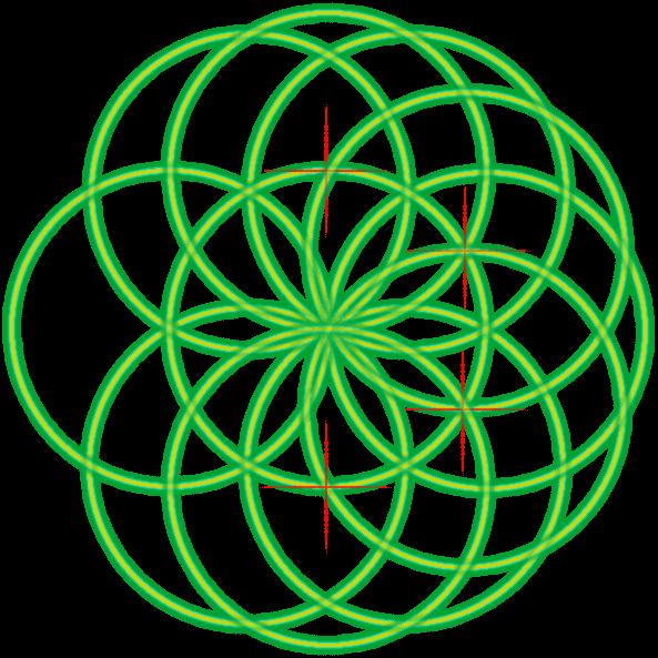 Bild von der Saat des Lebens mit einer Markierung und dem vierten Kreis