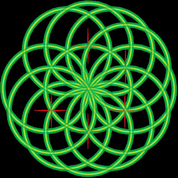 Bild von der Saat des Lebens mit einer Markierung und dem fünften Kreis