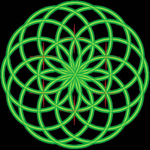 Bild von der Saat des Lebens mit einer Markierung und dem sechsten Kreis