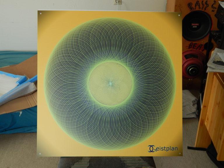 Mandala von Geistplan (Mandala der Aufmerksamkeit), psychodelisches mandala, black background, leuchtender komplexer Torus mit starker Wirkung. Kräftig, mächtig. psychodelic mandala goa