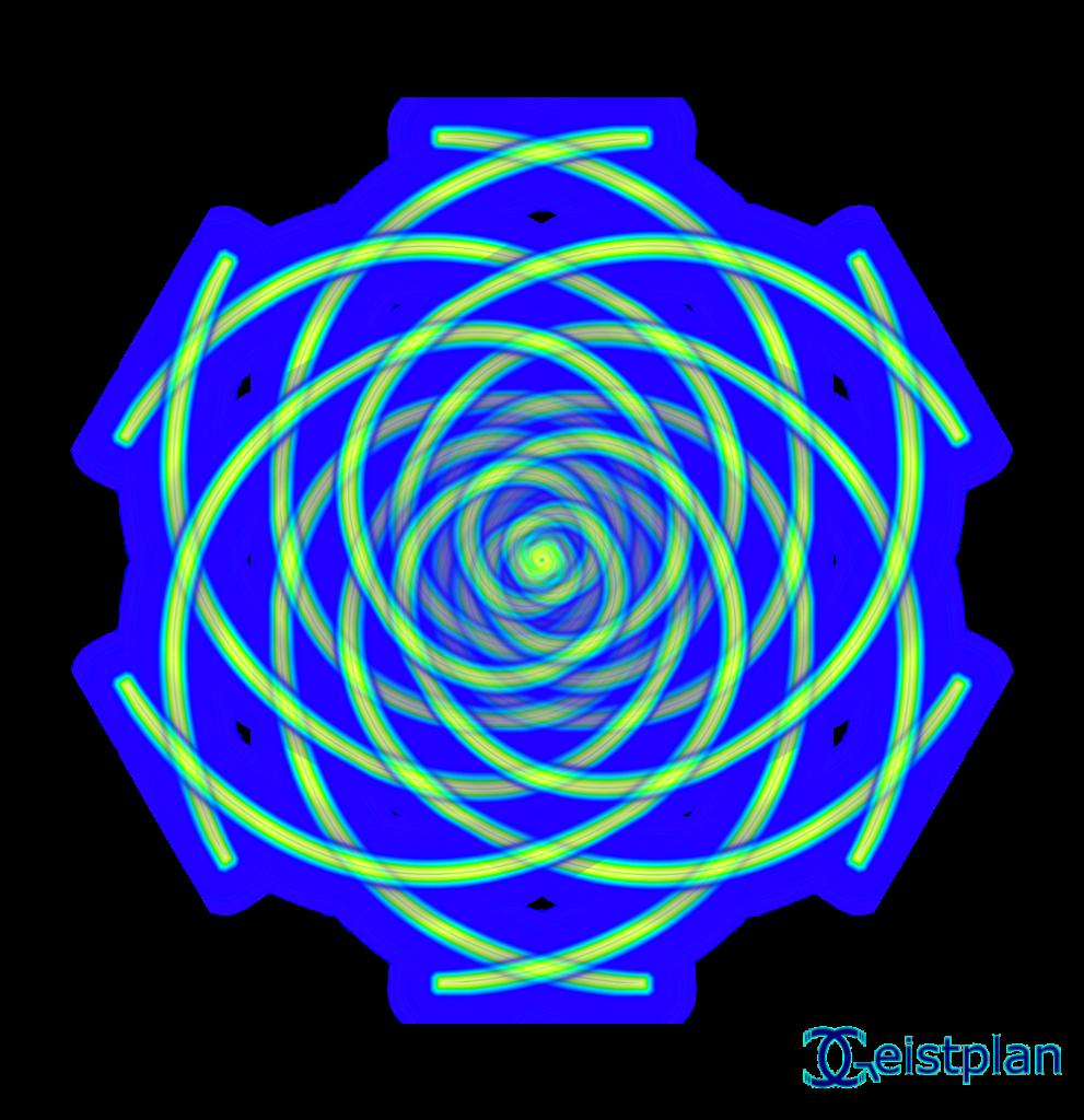 Ein Mandala mittels Fibonacci Spiralen gebaut.