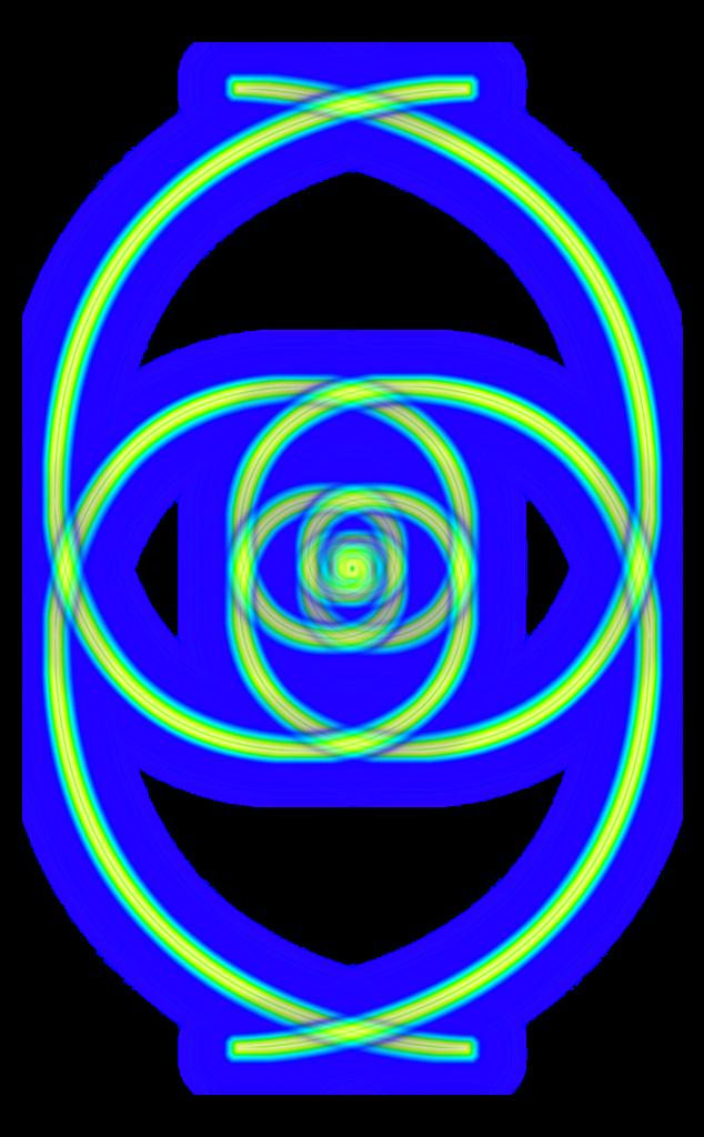 Bild von mehrfach gespieglten Fibonacci Spiralen, horizontal und vertikal gepiegelt
