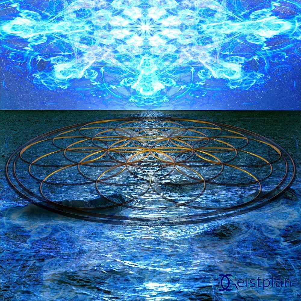 Bild von einem Meer, daraf schwimmend eine Große Blume des Lebens. Der Himmel ist hell erleuchtet von einem blauem Muster.