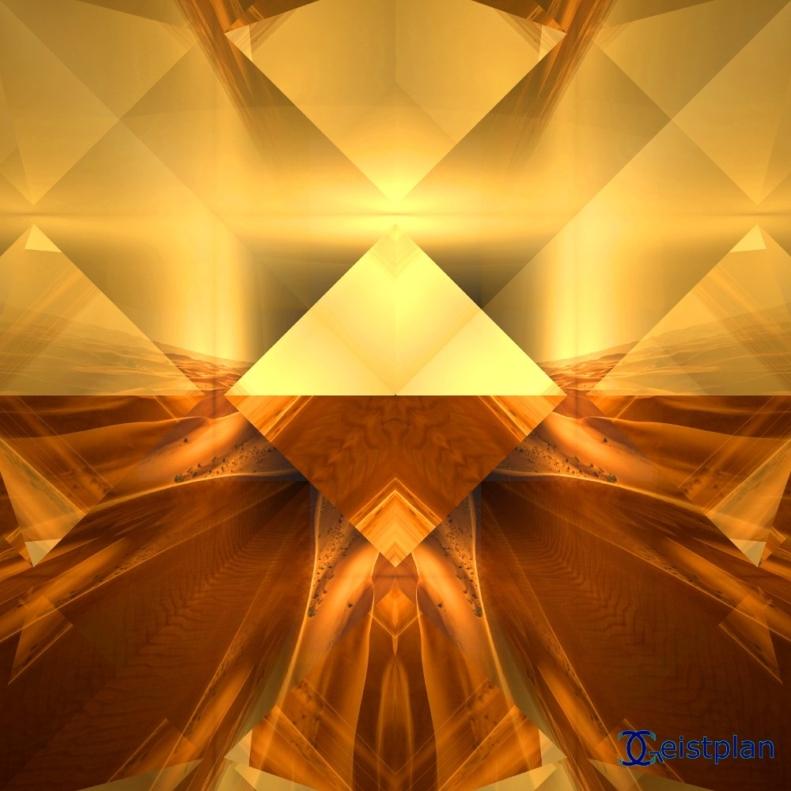 Bild oder Energiebild, Mandala von Pyramiden oder Oktaeder die sich im Wüstensand spiegeln. Alles ist in goldenen Farben.