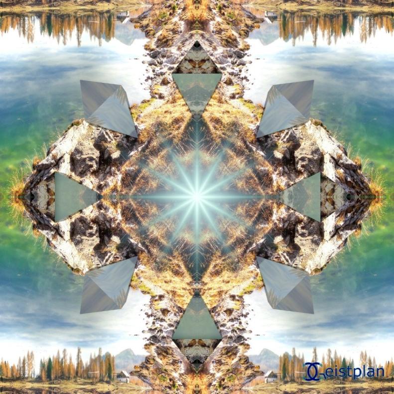 Bild von einem Mandala mit einem See und Natur und acht Oktaeder
