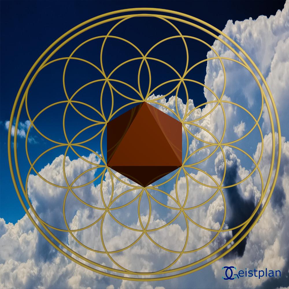 Bild von einer Blume des Lebens im Himmel, mit einem Oktaeder