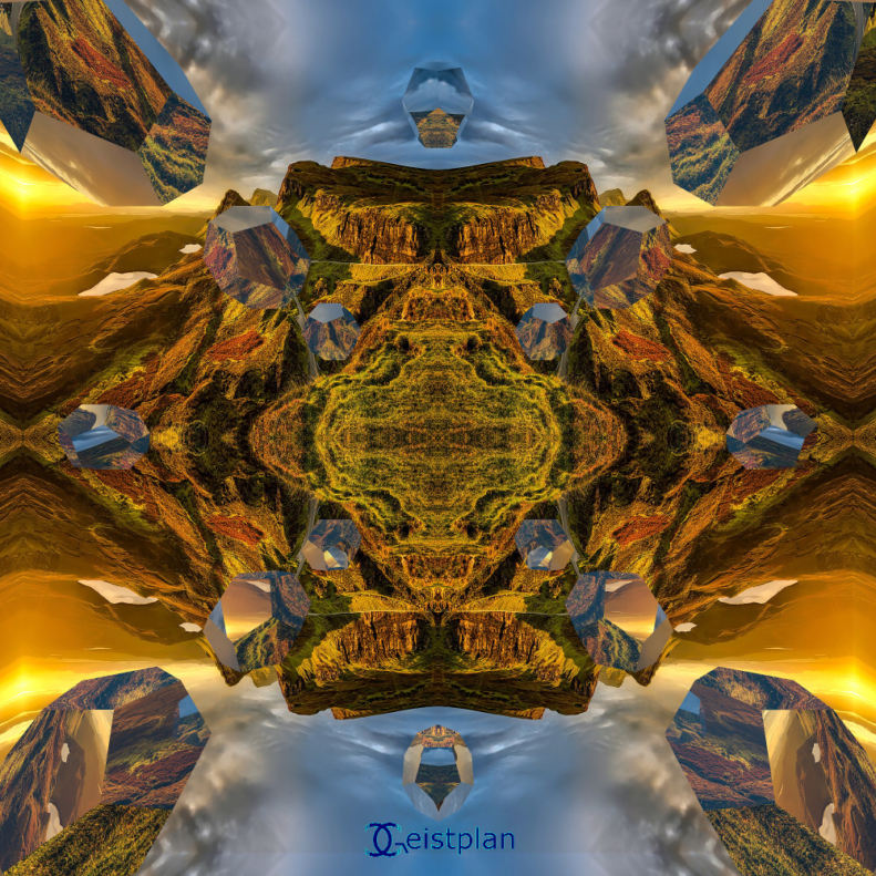 Bild von einer digitalen Kunst als Mandala. Verspiegelte Doedekaeder spiegeln eine schöne 3 Dimensionale Landschaft.