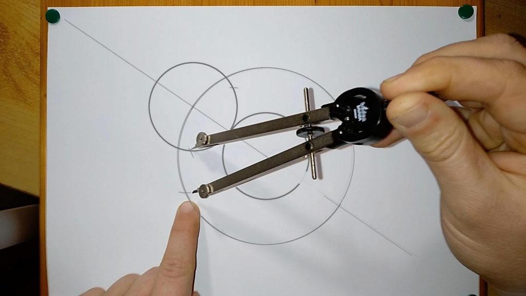 Markierung 3 mit dem Zirkel machen