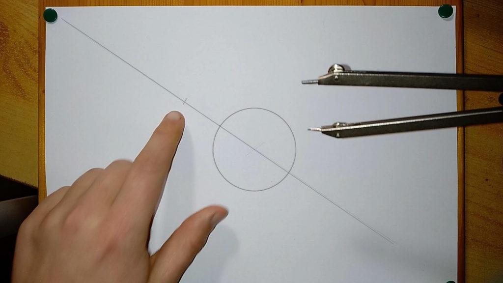 Markierung mit dem Zirkel machen