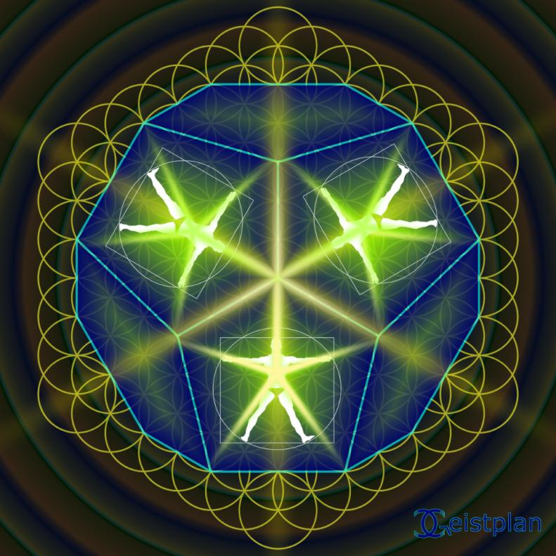 Mandala mit Menschen mit ausgestrekten Glieder, welche die Fünf symbolisieren.