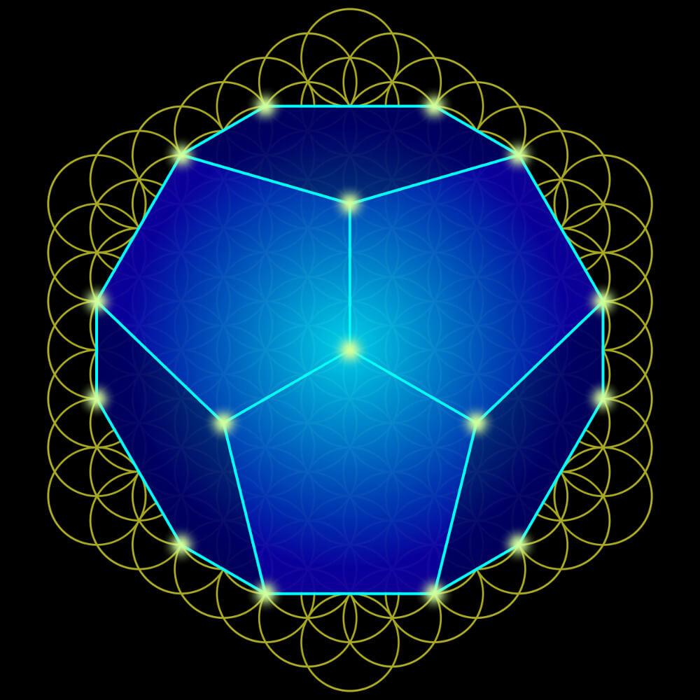 Die Faszination der heiligen Geometrie. Das Dodekaeder in der Blume des Lebens.