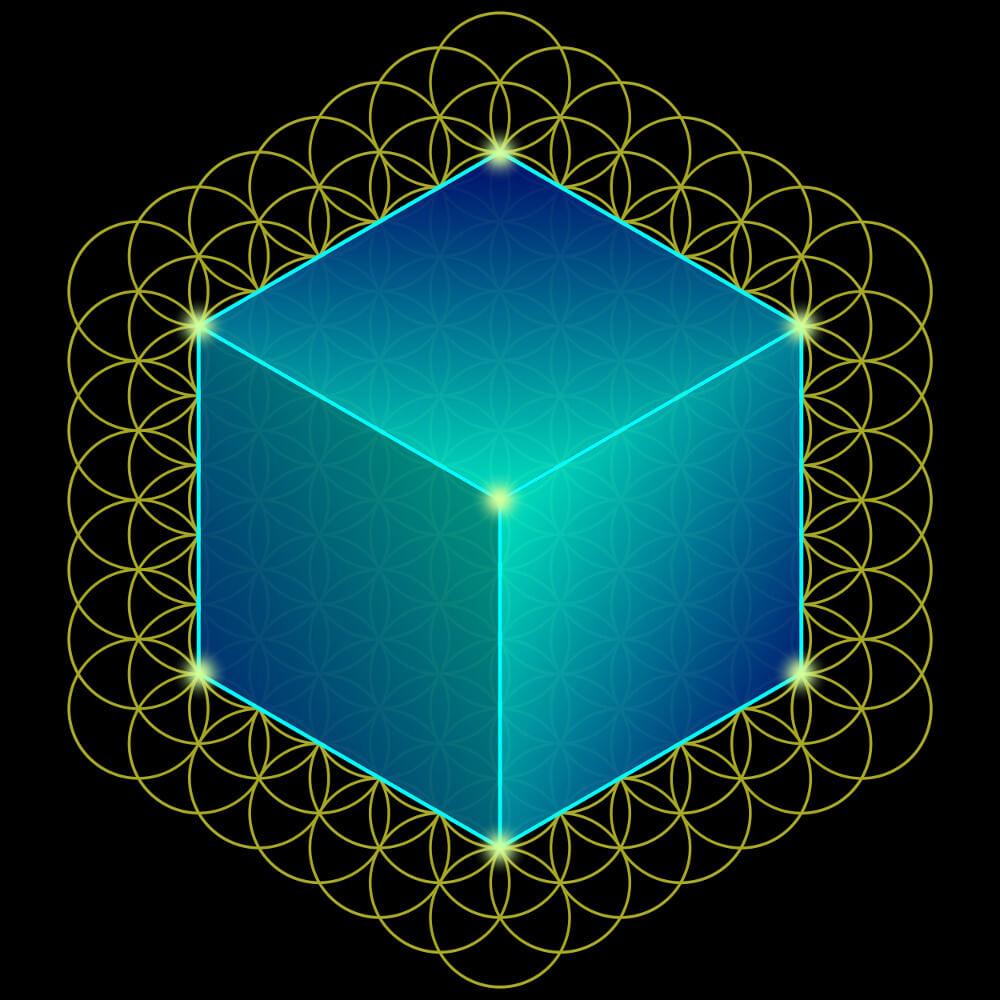 Die Faszination der heiligen Geometrie - der Würfel (Hexaeder) in der Blume des Lebens