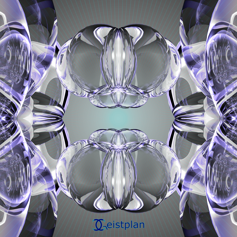 BIld von glaskugelähnlichen Konstrukten. Mandala oder Energiebild. Die Faszination der heiligen Geometrie.