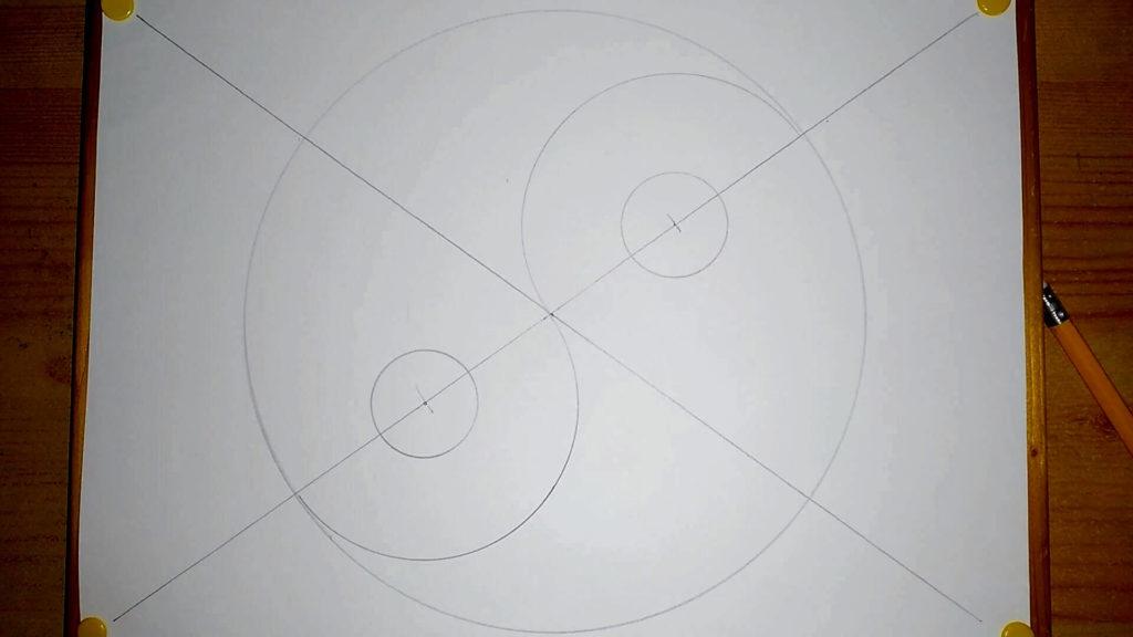 Ein kleiner Kreis wird oben gesetzt (Zirkel)
