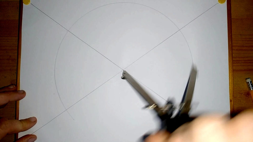 großer Kreis mit einem Radius von 10cm wird in der Mitte des Papiers gezogen.Yin Yang Symbol zeichnen