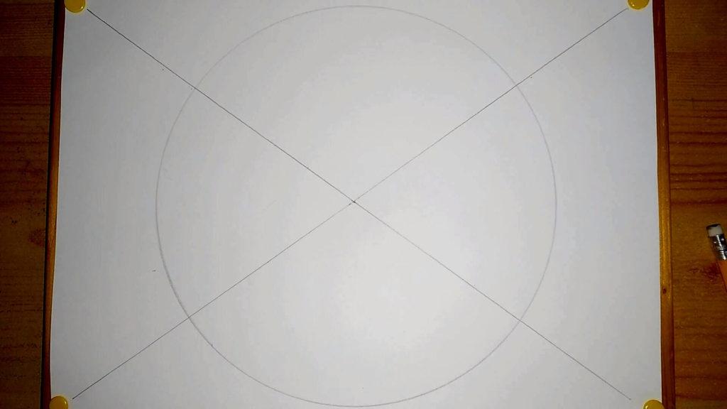 Papier mit Diagonalen und großem Kreis Yin Yang Symbol zeichnen