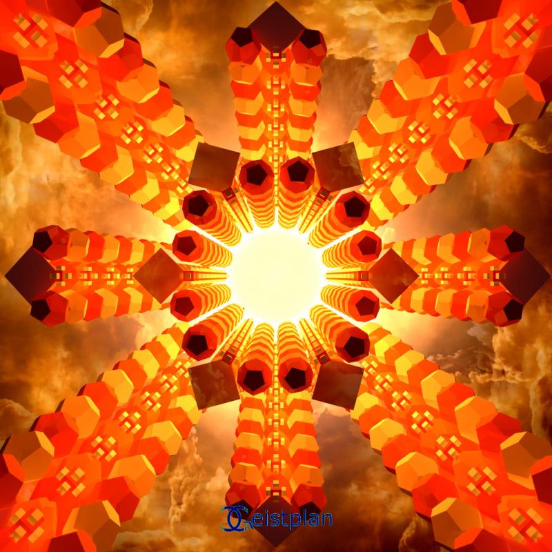 Digitale Kunst Bild von Türmen aus platonischen Körpern, welches ins helle Licht führen. Wärmende Farben, Reflexionen an den Türmen