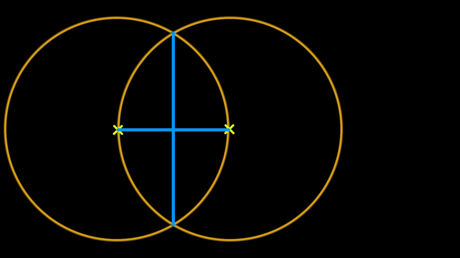 Zwei Kreise mit einem Kreuz in der Mitte