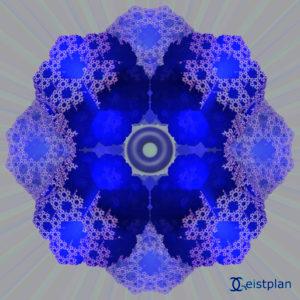 Bild von fraktalen Dodekaedern die bläulich nach innen leuchten. Komplexe Muster