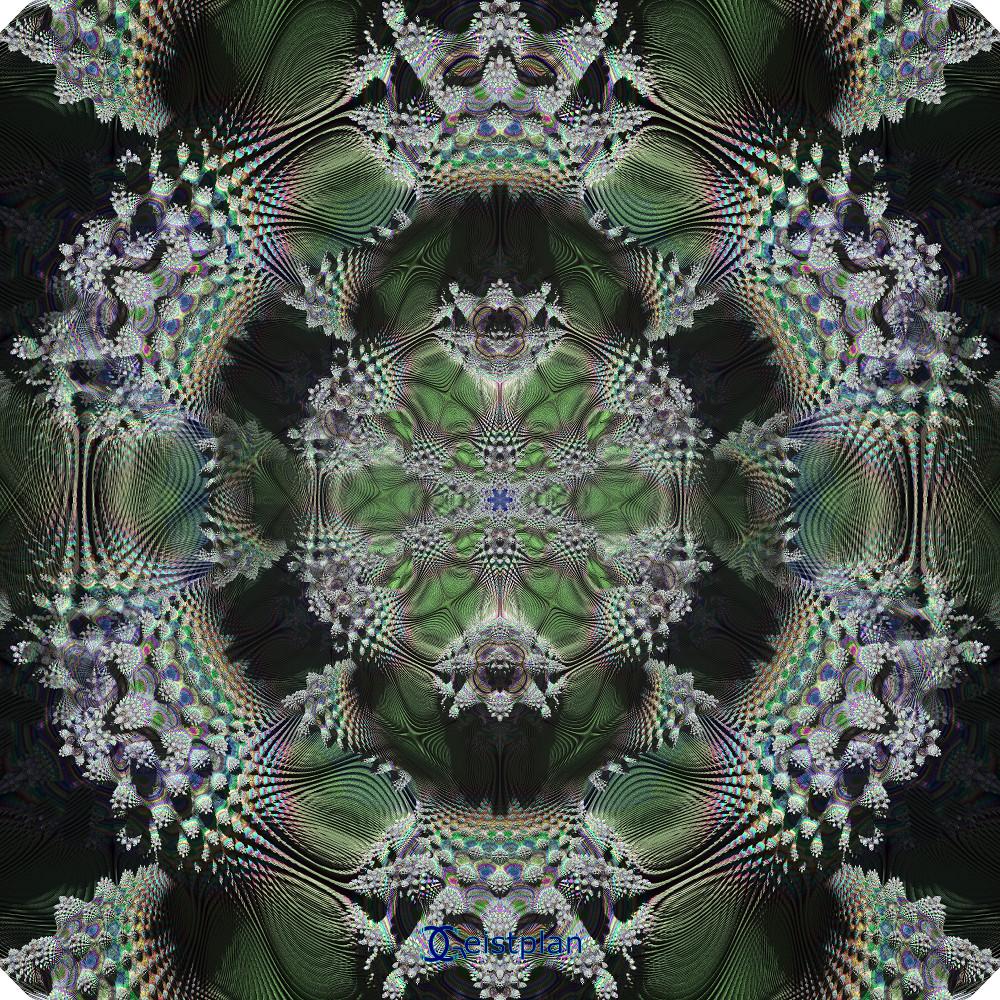 Bild von einem dreidimensionalem und filikranen Mandelbrot Muster. Farben: bunt, aber hauptsächlich grün