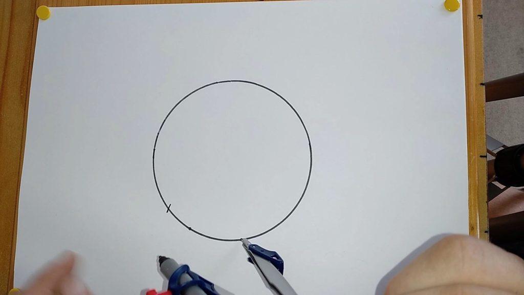 Bild von einem gezeichneten Kreis, in welchen mit einem Zirkel in die Kreislinie eingestochen wird