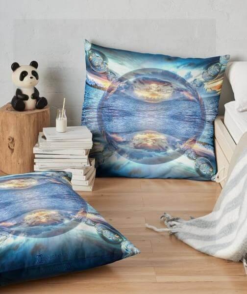 """Bild von einem Kissen mit dem """"Mandala Perle des Ozeans"""" als Aufdruck"""