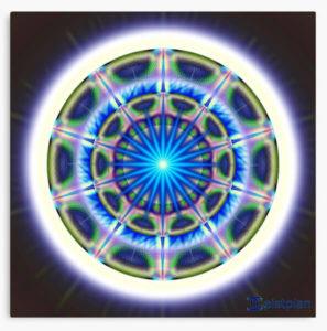 """Bild von eienr Leinwand mit dem Motiv """"Mandala der Aufmerksamkeit"""""""