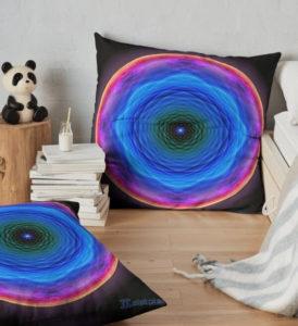 """Bild von einem Kissen mit dem """"Mandala der Barmherzigkeit"""" als Aufdruck"""