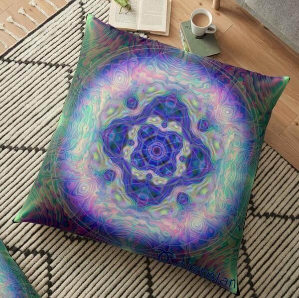 """Bild von einem Kissen mit dem Motiv """"Mandala der Besinnung"""" als Aufdruck"""